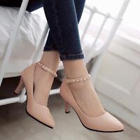 Women's Wedding High Heels Shoes Sweet Pumps Ankle Strap Pointed Toe Elegant OL