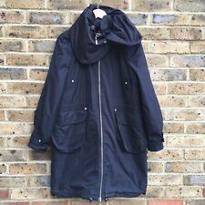 KAREN MILLEN Black Trench Coat Womens Size UK 12 Long Zip Up