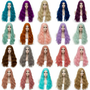 70CM Hot Women Long Wavy Curly Wigs Cosplay Costume Party Hair Anime Full Wig AU