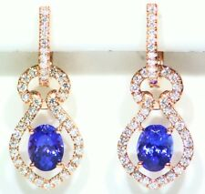 4.43CT 14K Gold Natural Tanzanite Diamond Vintage AAAA Engagement Earrings Retro