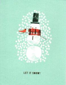 Happy Holidays Let It Snow Snowman Theme 100 Fold Hallmark Greeting Card