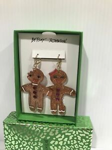 Betsey Johnson Gingerbread Man And Woman Drop Earrings With Glitter And Pave
