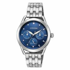 Ladies Citizen Eco-Drive Stainless Blue Dial Swarovski Day Date Watch FD2050-53L