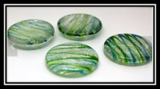 Glass Cabochons, Luminous, Flat Round, Green, about 30mm in diameter