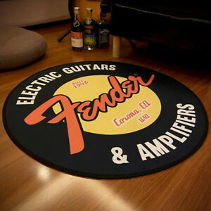 Fender Guitar Round Carpet Rock Floor Mats Flannel Printed Area Rug Sound Insula