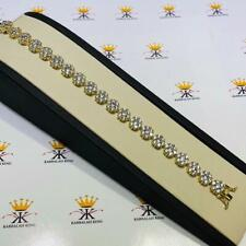 18k Yellow Gold Sterling Silver White Sapphire Round Halo Flower Tennis Bracelet