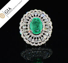 GIA 13.1cts Natural Colombian Emerald VS F Diamond 18K Solid Gold Cocktail Ring