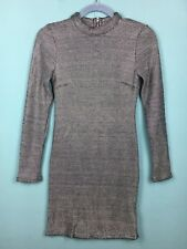Topshop Silver Metallic Chainmail / Mesh High Neck Bodycon Mini Dress 10 -B59