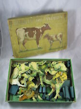 Antique Milton Bradley Toy Domestic Animals Farm Play Set Stand Up Fence in Box