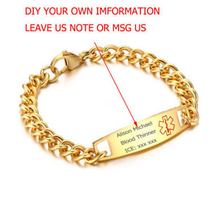 New Gold Stainless Steel Medical Alert ID Bracelet Chain Personalized Engraving