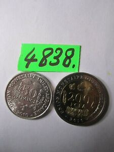 2 x  coins 2010   FRENCH WEST AFRICAN STATES     13   gms      Mar4838