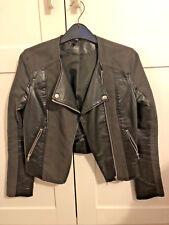 2 TONE-FAUX LEATHER, BLACK H&M BIKER Leather Jacket - size 8