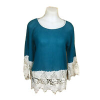 UMGEE Womens Boho Crochet Floral Lace Trim Green Semi Sheer Tunic Top Small