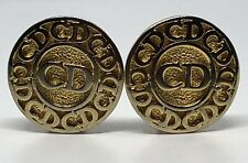 Vintage Signed CHRISTIAN DIOR CD Logo Clip On Monogram Gold Plated Earrings