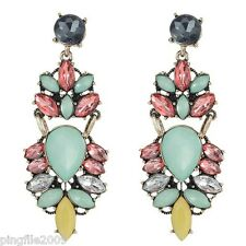 New Green Multi-Color Crystal Ancient Gold Drop/Dangle Long Earring 1140
