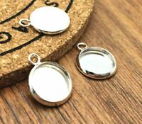 12pcs 12mm Brass Cameo Cabochon Base Setting Charm Pendants Necklace Base