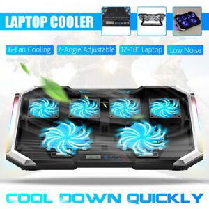 RGB 6 Powerful Fans 12-18'' Quiet Laptop Cooler Gaming Mat Pad Stand LCD Display