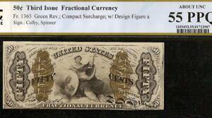 50 CENT JUSTICE FRACTIONAL CURRENCY SMALL a NOTE PAPER MONEY Fr 1365 PCGS 55 PPQ