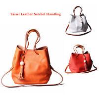 Women Tassel Leather Satchel Handbag Shoulder Tote Messenger Crossbody Bag