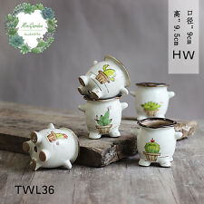 Glazing Hand Painted Ceramic Succulent Pots/ Desk Planter/Cute Design