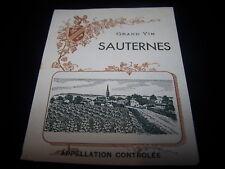 etiquette ancienne grand vin Sauternes appellation controlée wine label bordeaux