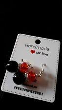 Black & Red Earrings Faceted Beads Rhinestone Drop Earrings Valentines Earrings