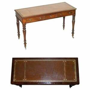 STUNNING VICTORIAN LIBRARY WRITING TABLE OR DESK BROWN LEATHER TOP GILLOWS LEGS