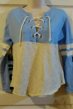 Inspired Hearts Long Sleeve Lace Up Top S Cotton Blend Oversize
