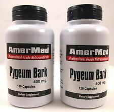 2X Pygeum Bark 400 mg 120 Capsules Prostate Urinary Tract Health