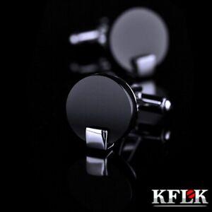 shirt cufflink for mens Brand Black Cuff link High Quality Round Luxury Wedding