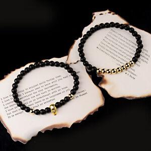 2PCS Stone Bead Skull Copper Beads Balance Bracelet Men Bangle Set Jewelry Gifts