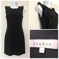 SANDRO Little Black Dress Gold Details Smart Frill Size 1 UK 10 VGC