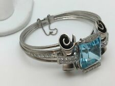 Large 51.00ct Aquamarine Gemstone Women's Bracelet With 925 Sterling Silver