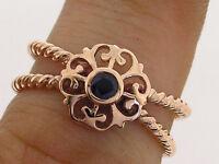 s R096 Genuine Solid 9K Rose Gold NATURAL Sapphire Rope Ring Fleur-de-lis size N