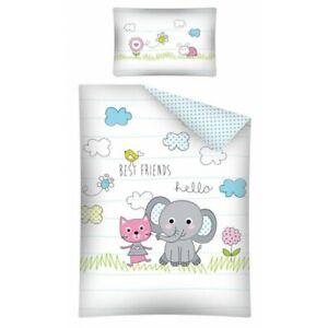 Kätzchen und Elefant  Bettwäsche 100 x 135 cm  Bettbezug Set für Kinder