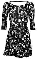 Gothic Skeletons Skulls Bones Ribcage Heart Anatomy Print Skater Halloween Dress