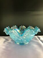VGT WESTMORELAND ICE BLUE CARNIVAL GLASS WILDFLOWERS&LACE CENTERPIECE BOWL