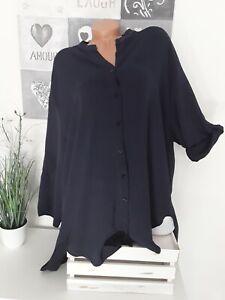 Italy Damen Long Hemd Bluse Blogger 52 54 56 NEU Vokuhila  Oversize dunkel blau