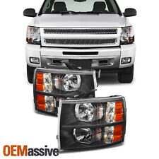 Fit 07-14 Silverado Black Headlights Headlight Lamp Set Aftermarket 2007-2014