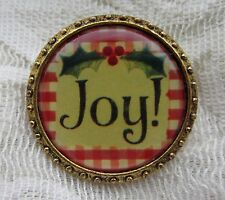 MAXIMALLY YOURS GOLD TONE CHRISTMAS VICTORIAN STYLE JOY BROOCH PIN