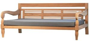 """75"""" L Outdoor Lounge Bench Solid Teak Wood Frame Water Proof Fabric Modern"""