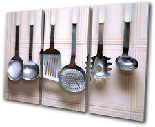 Food Kitchen Utensils TREBLE DOEK WALL ART foto afdrukken