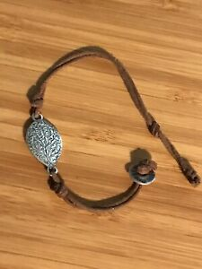 """Me&Ro Paisley Lotus Sterling Silver And Leather Cord Bracelet, 925, 7"""""""