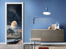 Mountain And Moon 3D Self-adhesive Door Sticker Room Mural Decal Wallpaper Decor