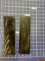 "1- Pair Smooth  Black & Streak Water buffalo horn knife Scales 1 1/2""x 5"" X1/4"""