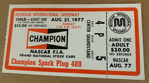 NASCAR 1977 Champion 400 ticket stub Darrell Waltrip 7th win