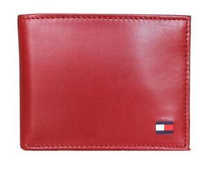 New Tommy Hilfiger Men's Dore Red Bifold Leather Passcase Billfold Wallet