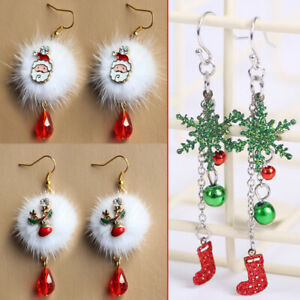 1Pair Christmas Crystal Bead Drop Earring Women Hollow Out Snowflake Ear Jewelry