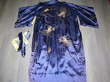 Vintage 20s 30s silky blue gold thread dragon embroidered kimono dressing gown