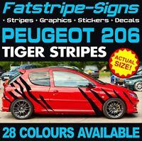 PEUGEOT 206 GRAPHICS TIGER STRIPES DECALS STICKERS GTI PUG 1.4 1.6 2.0 CC GTI D